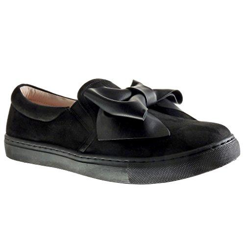 Angkorly Scarpe Moda Sneaker Slip-On Donna Papillon Tacco Tacco Piatto 2 cm Nero