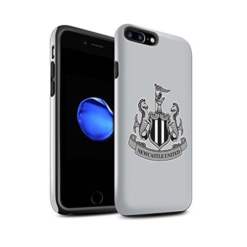 Offiziell Newcastle United FC Hülle / Glanz Harten Stoßfest Case für Apple iPhone 8 Plus / Mono/Schwarz Muster / NUFC Fußball Crest Kollektion Mono/Grau