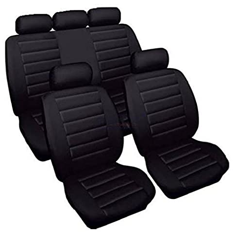 XtremeAuto® WLW2 - XAcarreraseatcovers Black Leather Look Carrera Seat Covers