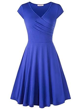 WAJAT Femme Robe A-line Slim Col V Croix Slim Dress Bleu S
