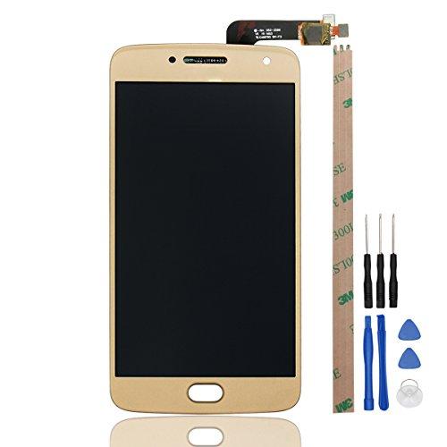 HYYT Reparatur und Ersatz LCD Display + Touchscreen Digitizer mit Frei Werkzeuge für Motorola MOTO G5 PLUS (Gold) (Moto-screen-ersatz)