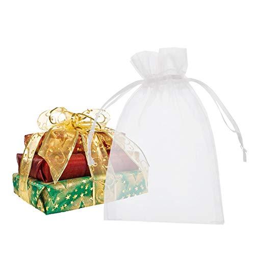 cm Sheer Kordelzug Organza Schmuck Beutel Hochzeit Party Weihnachten Favor Geschenk Taschen weiß ()