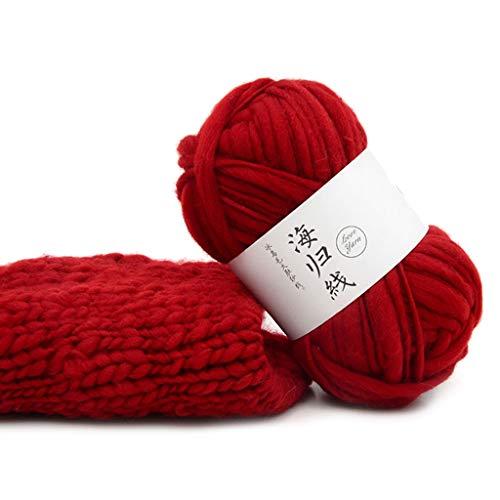 Ludzzi Fils de laine grossiers DIY Doux tissés à la main Crochet Tricotant Naturel pour Écharpes Chandails chapeau siège tapis châle 25 Couleurs - Rod Grüne Vorhang