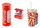 Coca Cola Official Coke 3 Piece Gift Set - Insulated Acrylic Glass, Wall Mounted Bottle Opener, Tin Straw Holder inc 50 Straws