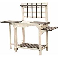 Siena Garden Table de jardinage avec cuve en plastique, 123x 53x 142cm, Gris/Blanc