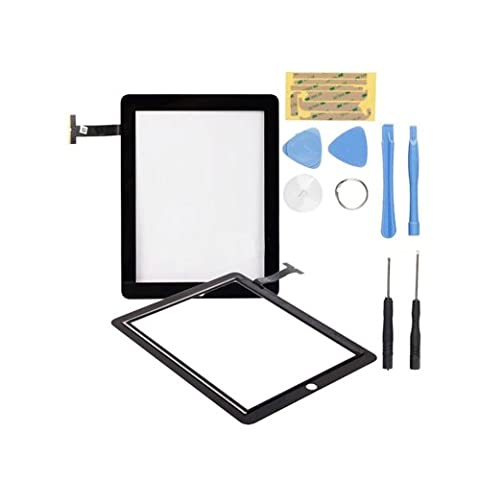 Flylinktech Screen Replacement for iPad 2, Touch Screen Digitizer Full Front Glass Assembly with Tools and Adhesive for iPad 2