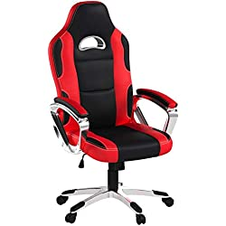 IntimaTe WM Heart Racing Chaise de Gamer Professionnel Siège de Bureau Fauteuil de Gaming Ergonomique Dossier Haut Inclinable en Similicuir pour PC Joueur (Rouge)