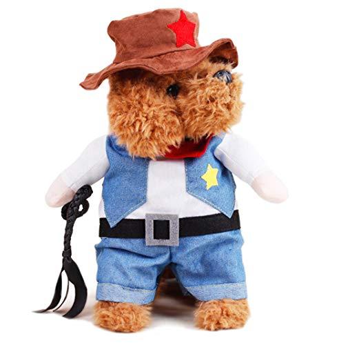 Katze Halloween Kostüme, Cowboy Jacke und Hut, super süße Kostüme für kleine Hunde & Katzen Cosplay, M ()
