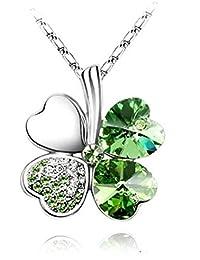 CargoMix Exquisite Kristall Four Leaf Clover Flower Herz-Anhänger Silber plattier Halskette Grün