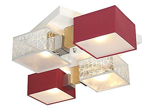 Deckenlampe - Wero Design Barsa-017B - Moderne Deckenleuchte, Leuchte, Holz, LAMPENSCHIRME MIT BLENDEN, 4-flammig (SILBER/WEINROT)