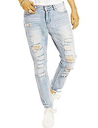 Bestyledberlin Damen Boyfriend Jeans, Super Destroyed Denim Hosen, Aufgerissene Relaxed Fit Jeanshosen j03l