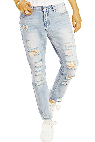 Bestyledberlin Damen Boyfriend Jeans, Super Destroyed Denim Hosen, Aufgerissene Relaxed Fit Jeanshosen j03l 38/M (Damen Jeans Fit Relaxed)
