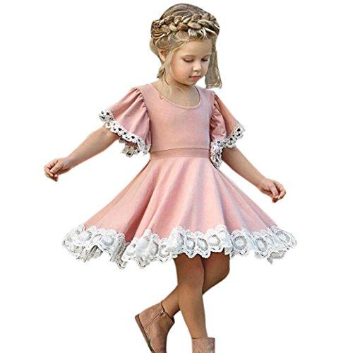 JERFER Mode Kinder Baby Mädchen Kleid Spitze Floral Party Kleid Kurzarm Festes Kleid Kleidung