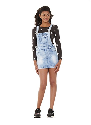 Jovial Jeans Light Wash Denim Dungaree Dress 16 Years Girl & Teen Bib Overall Skirt IZZIEPALEWASH