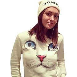 Lenfesh Meow Sudaderas,Gatos Camiseta para Mujer-Manga Larga (Blanco, M)