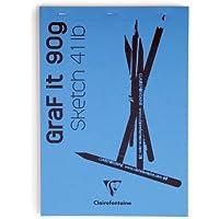 Clairefontaine 96731C - Un bloc agraphé GraF'iT 80 pages unies blanches 10,5x14,8 cm 90g, couverture Bleu roi