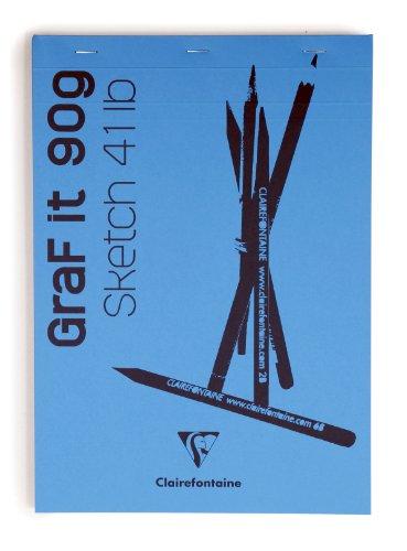 Clairefontaine 96627C Zeichenblock Kopfseitig Geleimt Graf It, Din A3, 29.7 x 42 cm, 80 Blatt, 90 g, weiß