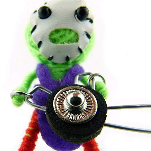 Zombie mit Kettensäge - Voodoo-Puppe Schlüsselanhänger als Seelentröster Glücksbringer - Voodoo Doll Anhänger für Taschen Handy Autorückspiegel - Sorgenpüppchen Handgemacht aus Wolle und Stoff