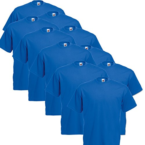 10er Pack Valueweight Fruit of the Loom T-Shirt Größe S - 5XL T-Shirts in vielen Farben S,royal - Royal Blau S/s T-shirt