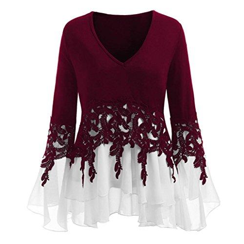VJGOAL Damen Bluse, (38-46) Damen Mode Applique Patchwork Flowy Chiffon V-Ausschnitt Langarm Casual Party Bluse Tops (Wein, 44) -