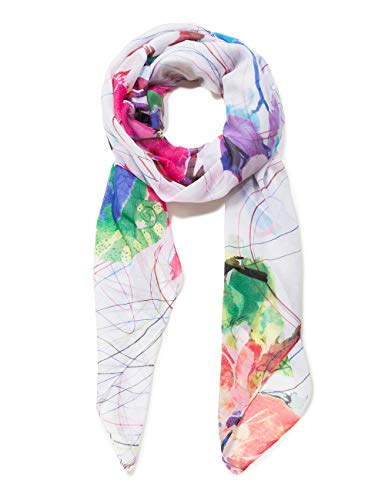 Desigual Damen Schal Rectangle Foulard LOGOMOTION Woman White, Weiß (Crudo 1001), One Size (Herstellergröße: U)