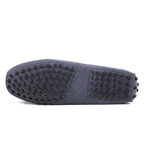 ShenDuo Damen Leder Mokassins mit Binden Casual Slipper Sommer Schuhe D7051 Dunkelgrau