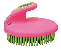 Weaver Leather 65-2061-C2 Palm-Held Fine Curry with Small Rubber Bristles, Pink/Lime