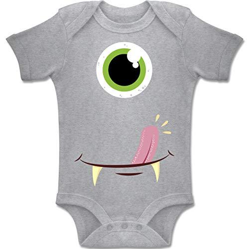 Shirtracer Karneval und Fasching Baby - Monster Gesicht Kostüm - 3-6 Monate - Grau meliert - BZ10 - Baby Body Kurzarm Jungen ()