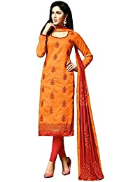 Skyblue Fashion Orange Color Fabric Chanderi Cotton Embroidery Work Patiyala Suit