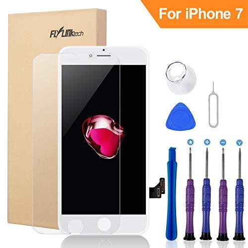 FLYLINKTECH Für iPhone 7 Display Weiß, LCD 3D Touchscreen Digitizer Assembly mit Werkzeuge und Displayschutzfolie Für iPhone 7 Weiß 4.7