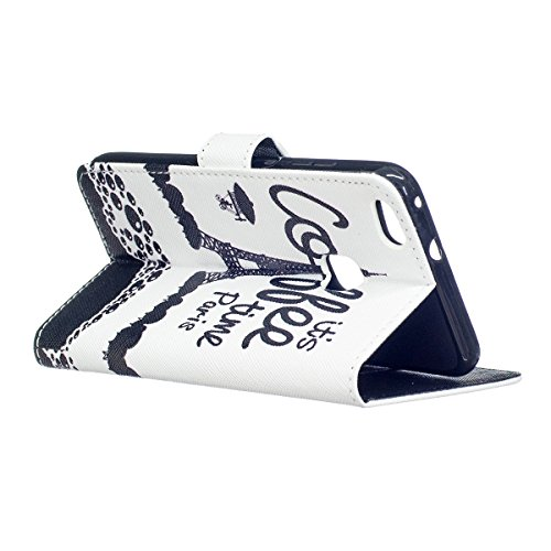 Custodia per Huawei P10 Lite - Cover per Huawei P10 Lite - ISAKEN Accessories Cover in PU Pelle Portafoglio Custodia, Elegante Embossed Pattern Design in Sintetica Ecopelle Libro Bookstyle Wallet Flip Torre nero