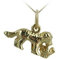 9ct-oro 375/*8 1000. ciondolo di 16 mm, motivo cucciolo tenuto un cestino di fiori, con catenella