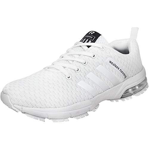 wealsex Chaussures De Course Basket Running Compétition Sport Trail Entraînement Homme Femme Fitness Tennis Sneakers Blanc 40
