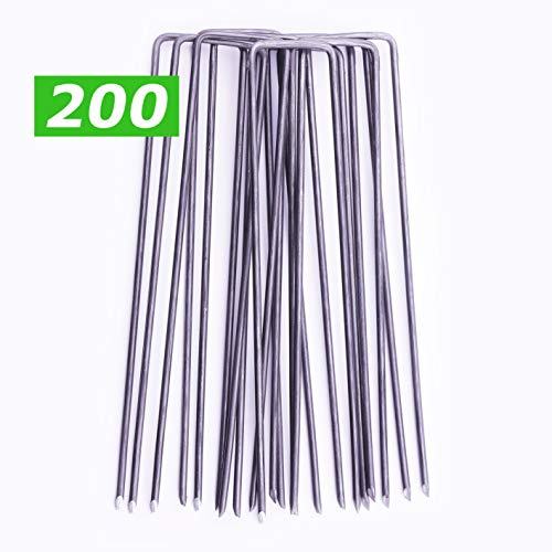 gardenprime 200 picchetti a u in acciaio 15x2,5cm Ø 2,8mm   ancoraggio premium a terra telo pacciamatura, impermeabile, anti-erbacce   ancore a terra per reti, recinzioni, erba artificiale   200 pezzi