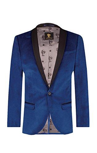 Noose & Monkey Herren Slim Fit Blaues Samt Anzugjackett 1 Knopf Schal Revers, Blau, 38R -