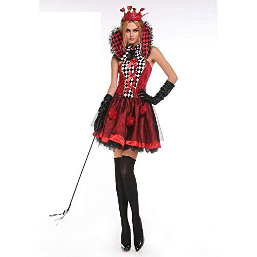 Olydmsky karnevalskostüme Damen Hexenkleid Königin der Herzen Kostüm Halloween Queen Dress Red Queen Outfit (Herzen Halloween Der Kostüm Königin)