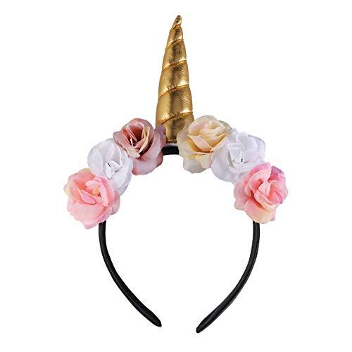 Amosfun Halloween-Kostüm-Einhorn-Stirnband Entzückende Einhorn-Haarreifen Blumen Kopfschmuck Party Favors Supplies für Kinder