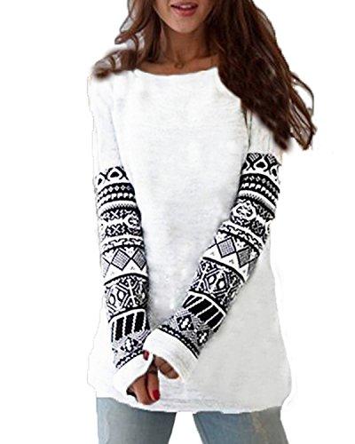 ZANZEA Women's Sexy Casual Autumn Print Loose Long Sleeve Round Neck Tops Blouse T-Shirt White 3XL