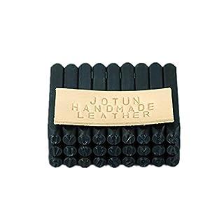 Yosoo Nummer und Brief Briefmarke Set 4 mm Handwerk Stahl Metall Leder Stempel Stempel Stempel (36 Stück Set / A-Z und 0-9)