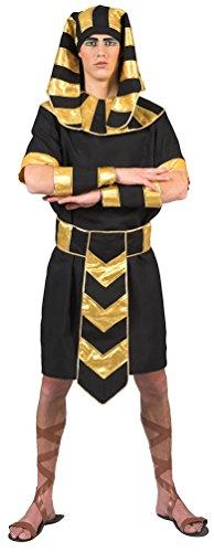 Karneval-Klamotten Pharao Kostüm Herren Männer Ägypter Herren-Kostüm mit Pharao Kopfbedeckung schwarz Gold Karneval Größe 48/50