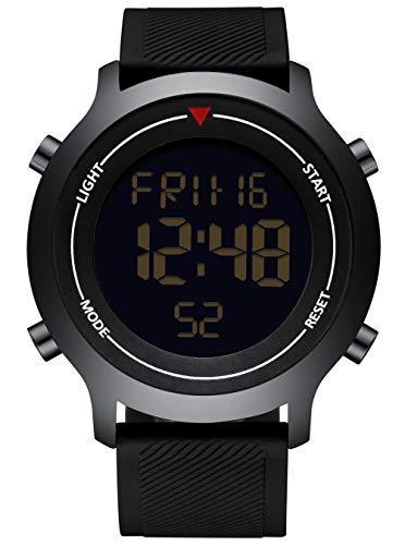 Orologi Uomo Nero Orologio Sportivo Digitale Multifunzione Cronografo Militare Allarme per Uomo Orologi da Polso Data Calendario Trend Cool Casual Retroilluminazione a LED per Uomo Ragazzi