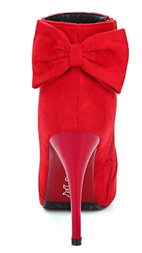 YE Damen Spitze High Heel Stiletto Wildleder Stiefeletten mit mit Reißverschluss Schleife 10cm Absatz Elegant Herbst Winter Schuhe Short Ankle Boots Rote