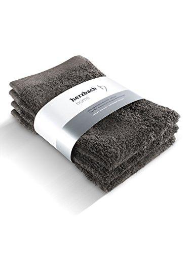 herzbach home Handtuch Gästetuch 3er-Set Premium Qualität aus feinster Baumwolle saugfähig und pflegeleicht 30 x 50 cm 600 g/m² mit Aufhänger (Dunkelgrau)