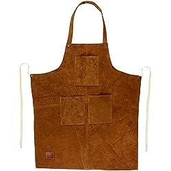 Parrilla herramienta de trabajo delantal con bolsillos de piel auténtica rústico ciudad ~ ajustable de hasta XXL para los hombres y las mujeres–Ideas de regalo para él su (marrón)