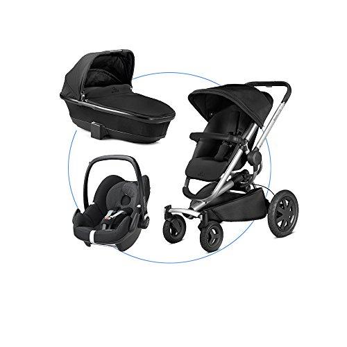 Kombiset: Quinny Buzz Xtra 4 Kinderwagen Sportbuggy + Maxi-Cosi Babyschale Kinderautositz Gruppe 0+ (0-13 kg) + Quinny Faltbarer Kinderwagenaufsatz, schwarz