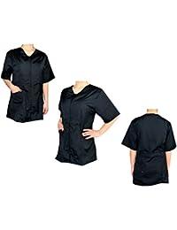 Menitashop Camice Casacca Giacca Donna da Estetista Lavoro Zip Clip Bianco  Nero Fucsia beff70efb918