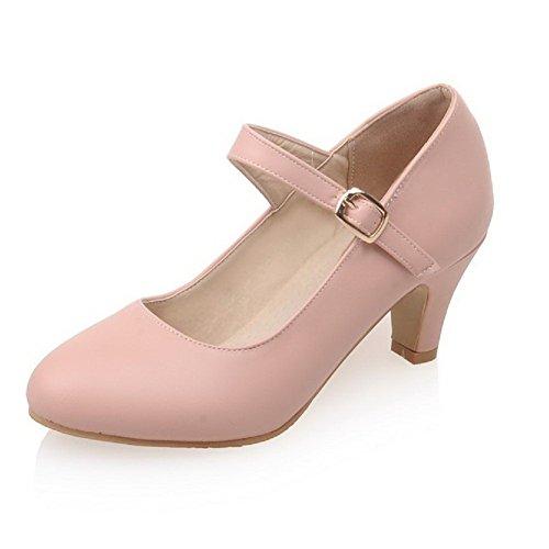 Odomolor Damen Pu Leder Rein Schnalle Rund Zehe Mittler Absatz Pumps Schuhe, Pink, 38
