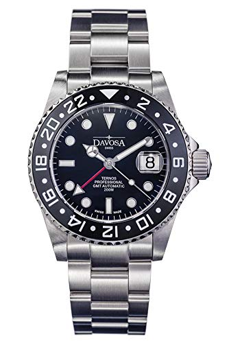 Davosa Ternos Professional GMT Second Time Zone Black Stainless Steel Wrist Watch