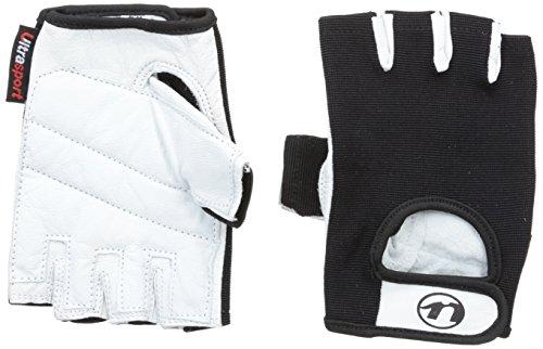 Ultrasport Guantes de fitness y guantes de entrenamiento Grip para hombres y mujeres / guantes deportivos para practicar deportes de fuerza, ciclismo y fitness, protegen las manos y ofrecen un agarre optimizado, Blanco/Negro, XL