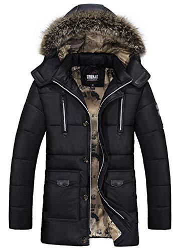 Biran giacca invernale con cappuccio a maniche unico in lunghe cappuccio con poliestere pesante invernale da uomo cappotto parka giacca invernale da uomo staccabile con cappuccio